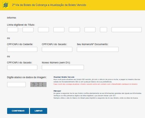 atualizar boleto do banco do brasil