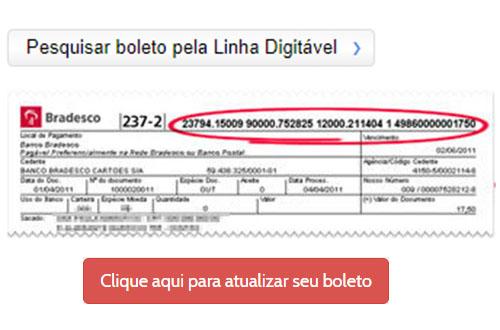 Atualizar boleto Bradesco com linha digitável