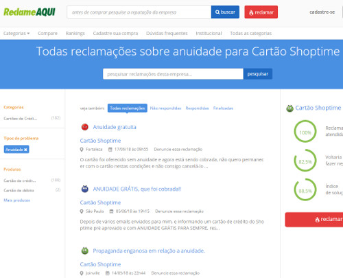 cartao shoptime reclame aqui