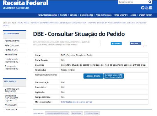 consulta dbe rfb