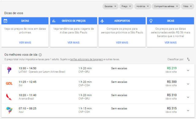 google-flights passagens aereas baratas