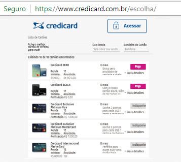 pedir cartao de credito credicard